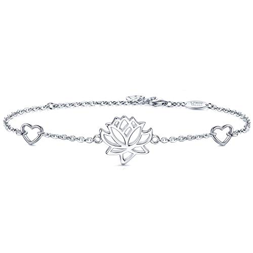 - AmorAime Sterling Silver Lotus Flower Bracelet Heart Charm Adjustable Yoga Karma Namaste Jewelry Mother Daughter Gift