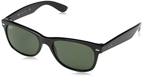 Ray-Ban RB2132 New Wayfarer Sunglasses, Black/Green, 55 - Car Style Bug