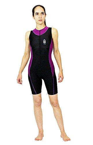 Astek Womens Modest Triathlon Suit Swim Bike Run Trisuit (Black / Purple, - Ironman Suit Tri