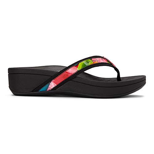 Vionic Women's Pacific High Tide Toepost Sandals – Ladies Mid Heel Flip Flops with Concealed Orthotic Support - Black Floral 9M ()