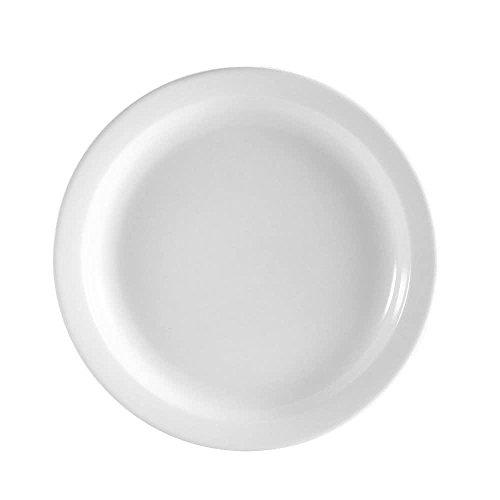TableTop King NCN-16 Clinton 10 1/2 Bright White Narrow Rim Porcelain Plate - 12/Case ()