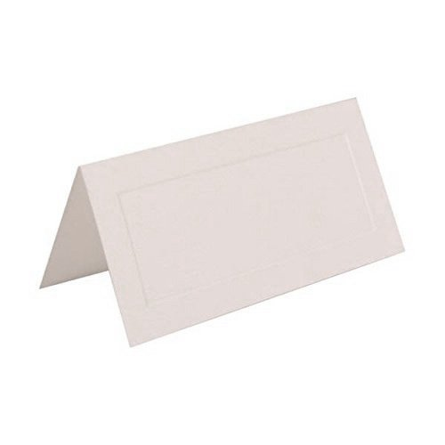 JAM PAPER Table Setting Foldover Place Cards - 2 x 4 1/2 - White with Embossed Border - 100 Tent Cards/pack -