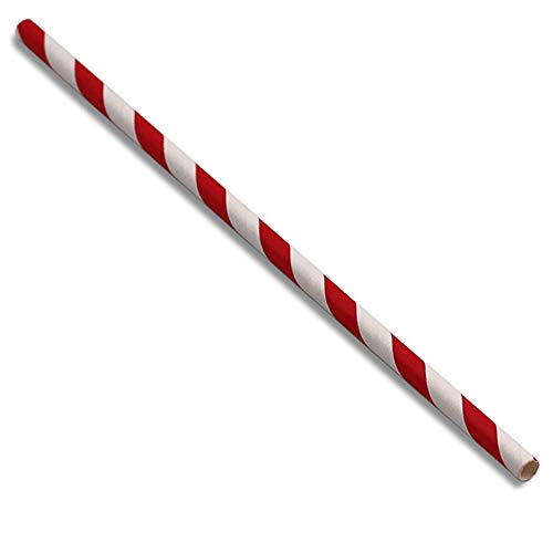 (AwesomeStraws Biodegradable Disposable Paper Straws with Stripes, 7.75 Inch, Unwrapped, 3000 Pack (Red))