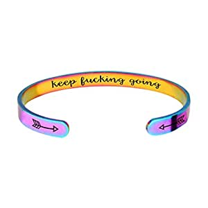 Toyvian Inspirational Bracelets Stainless Steel Keep Fucking Going Cuff Bangle Graduate Friend Encouragement Gift Jewelry for Woman Man (Colorful)