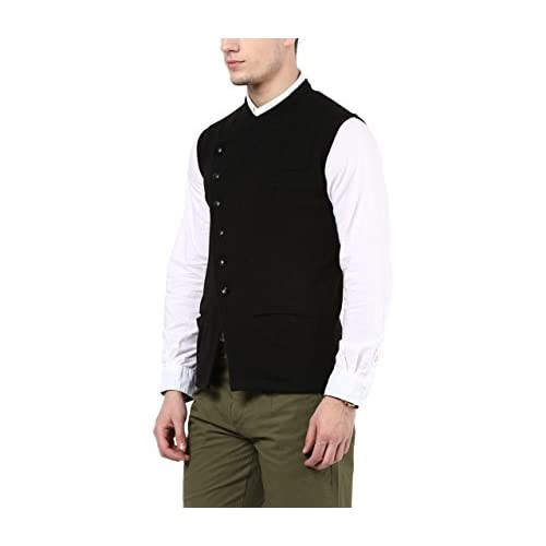 317jDarr aL. SS500  - Hypernation Black Color Cotton Casual Waistcoat