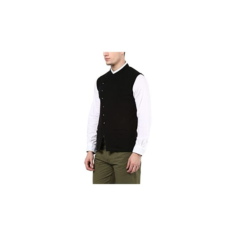 317jDarr aL. SS768  - HYPERNATION Black Color Cotton Casual Waistcoat