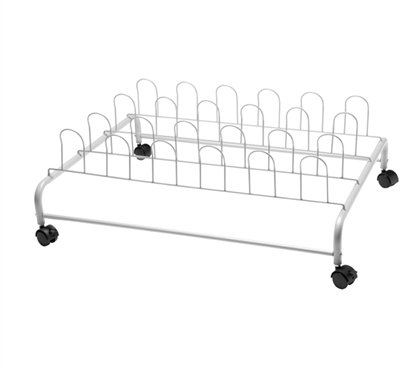 Underbed Cart - DormCo Suprima Underbed Shoe Holder with Wheels - White