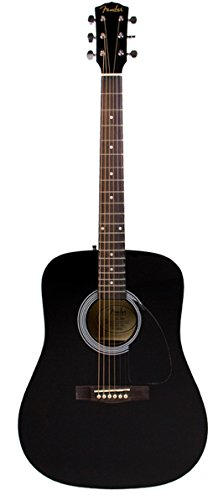 Fender FA-100 Dreadnought Acoustic Guitar - Black Bundle with Gig Bag, Tuner, Strings, Strap, and Picks - Image 1