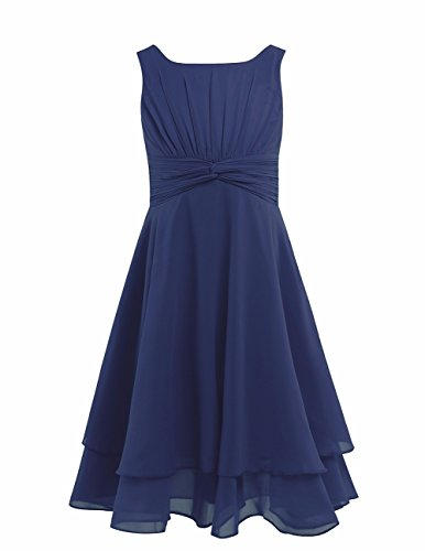 FEESHOW Kids Big Girls Sleeveless Double Chiffon Layers Wedding Bridesmaid Party Flower Girl Dress Navy Blue 12 -