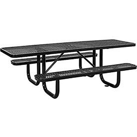 8' ADA Rectangular Picnic Table, Expanded Metal, Black (96