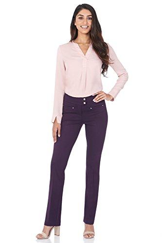 Rekucci Women's Secret Figure Pull-On Knit Straight Pant w/Tummy Control (12,Deep Plum)