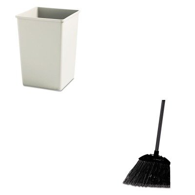 KITRCP395800BGRCP637400BLA - Value Kit - Rubbermaid-Beige Square Container (RCP395800BG) and Rubbermaid-Black Brute Angled Lobby Broom (RCP637400BLA) by Rubbermaid