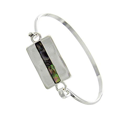 (Gift Boxed) ST Collection Women's Rectangle with Abalone Silver Plated Brass Bangle Bracelet