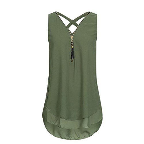 Leegor 2018 New Women Loose Sleeveless Tank Top Cross Back Hem Layed Zipper V-Neck T Shirts Tops Crinkle Cotton Big Shirt