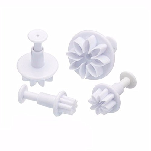 4 PC Set Daisy Flower Impression Plunger Pop-out Cutters - Fondant / Gumpaste Pop-out Plunger Tools from Bakell