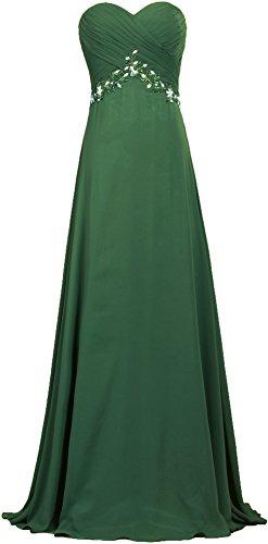 Robes De Bal En Mousseline De Soie Formelle Longue Robe De Soirée Vert Foncé De Fourmis Femmes