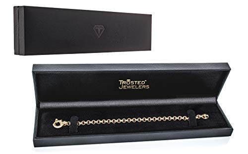 14K Yellow Gold Rolo Chain Bracelet with Fancy Clasp   Hollow 5.0mm   Length 7 1/2''   6.5g by Trusted Jewelers (Image #4)