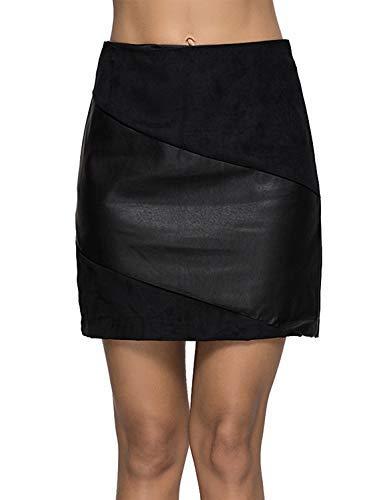 - Escalier Women's PU Leather Skirt High Waist Mini A Line Skirts Black XL