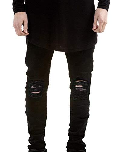 Pantalones Vaqueros Elásticos Super Elásticos De Los Slim Fit Hombres Pantalones Casuales con Grietas En La Rodilla En Pantalones De Mezclilla Blanqueados Pantalones Vaqueros Rasgados Negro