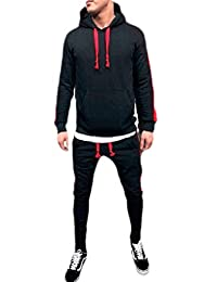Cromoncent-CA Mens Color Block Hooded Sweatshirt Pants Sportwear Outfits Tracksuit Set