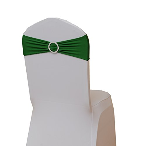 Fvstar 10pcs Green Wedding Chair Sashes Party Chair Bows Spandex Chair Cover Ties Ribbons for Baby Shower Birthday Banquet Valentines Decorations Without White Covers