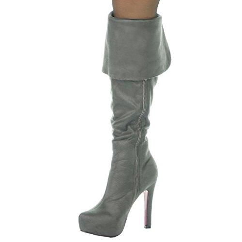 Zeppe Cm Tacco Stivali Stiletto Donna Angkorly Alti Scarpe Sexy Da Moda Grigio 11 Pxqfw60