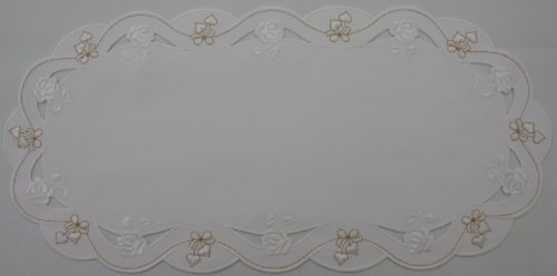 Valentine or Wedding Linen Doily with White Hearts,white Roses and White Bows Accented with Gold Thread.