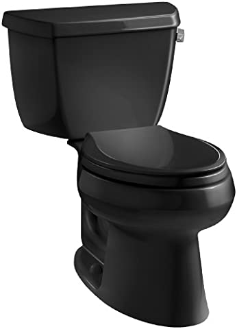 Kohler K-3575-RA-7 Wellworth Classic 1.28 gpf Elongated Toilet with Class Five Flushing Technology and Right-Hand Trip Lever, Black - Kohler Class Five Flushing System