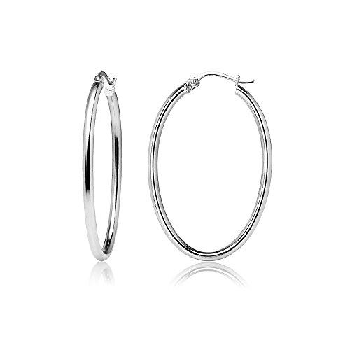 Sterling Silver 2mm Oval Hoop Earrings, 25mm Oval Loop Earrings