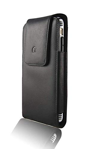 Genuine Leather Carry Case - Monsoon [Alpha Genuine Leather Case Holster with Belt Clip for iPhone XR (6.1