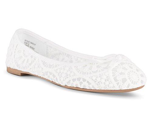 Twisted Womens SAGE Flower Crochet Ballet Flat with Bow - SAGE07 White, Size 6