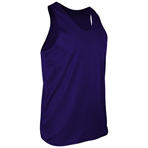 TR-903-CB Men's Athletic Single Ply Solid Color Light Weight Track Singlet (Medium, Purple)