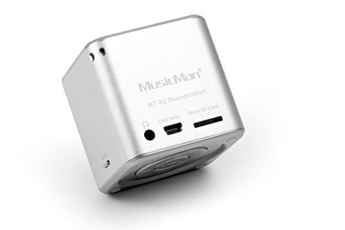 MusicMan mini Wireless Soundstation BT-X2 (MP3 Player, Bluetooth) silber