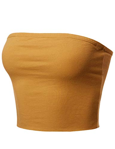 Made by Emma Fitted Solid Cotton Based Strapless Double Layered Crop Tube Top New Mustard M