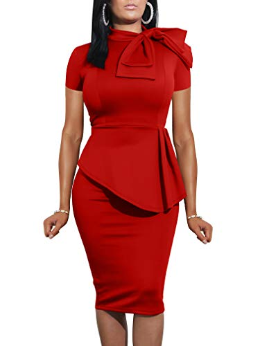 (LAGSHIAN Women Fashion Peplum Bodycon Short Sleeve Bow Club Ruffle Pencil Office Party Dress Red)