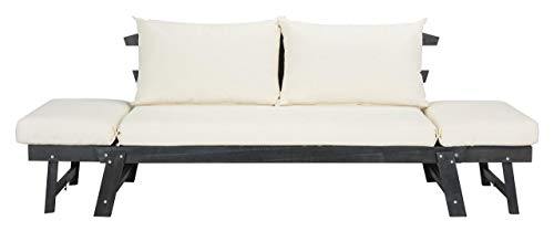Safavieh PAT6745A Outdoor Collection Tandra Dark Slate Grey and Beige Modern Contemporary Daybed Day Bed, Gray
