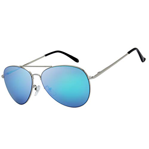 The Fresh Classic Large Metal Frame Mirror Lens Aviator Sunglasses with Gift Box (Silver (Spring Temple), Blue)