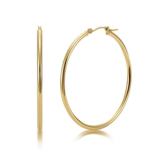 High Polished 14k Yellow Gold 2mm x 40mm Click Top Tube Hoop Earrings - By Kezef Creations ()