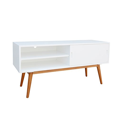 White Sliding Door Media Cabinet - Mid Century Modern Wood Media Console Cabinet TV Stands with 2 Open Shelves Sliding Door and Angled Solid Wood Legs - Includes Modhaus Living Pen (White)
