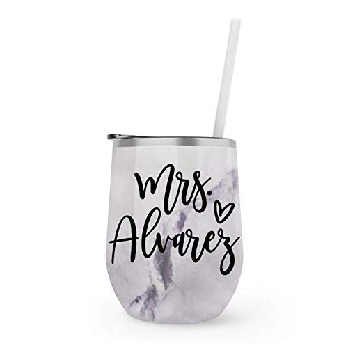Personalized Future Mrs. Marble Wine Tumbler with Straw - 12 Oz. Stemless Travel Cup - Engagement