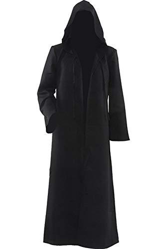 Wonderoy Men's Halloween Costume Cosplay Knight Hooded Robe Cloak Cape M Black