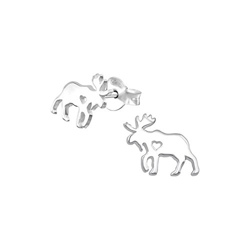 Moose delicate Ear Studs 925 Sterling Silver For Women and Girls