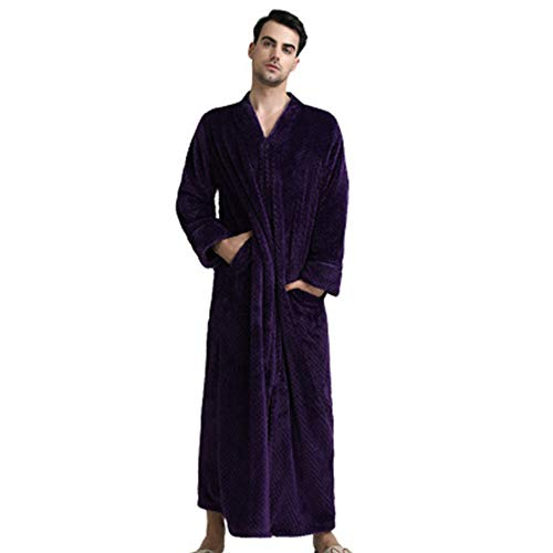 Plush Zipper Lounger Robe,Relaxed Fit Zip-Front Fleece Robe, Fleece Robe Plush Long Zip-Front Bathrobe with Pockets for Men,Women,Adults,Size of M/L/XL
