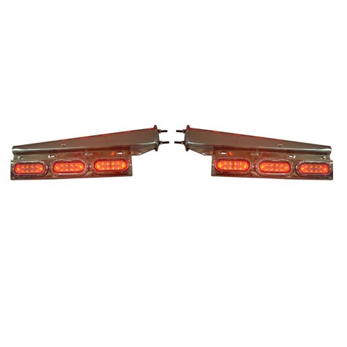 Pair of Stainless Steel Tapered Mud Flap Hangers w/ LED Turn Signals (Led Mud Flap)
