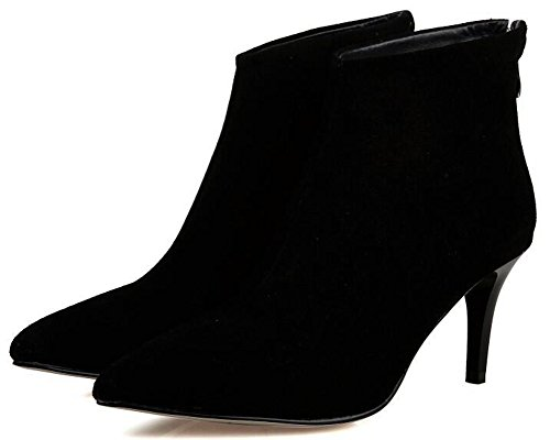 IDIFU Womens Sexy Pointed Toe Mid Stiletto Heels Back Zipper Faux Suede Ankle Boots Short Booties Black urA8EK