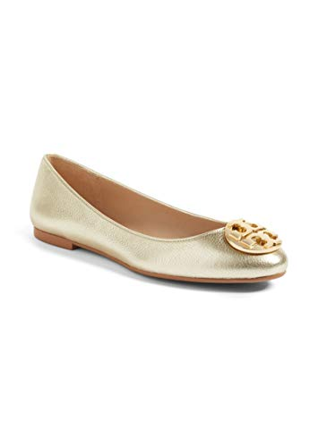 Tory Burch Claire Ballet Flat, Metallic Tumbled Leather, Spark Gold (9 M US) -