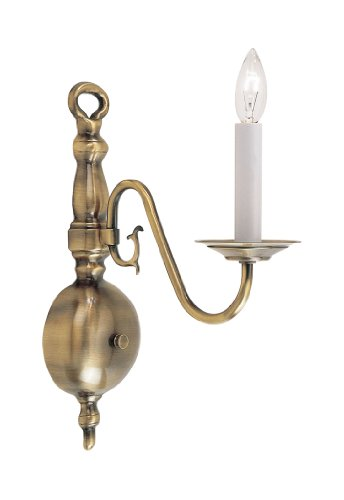 Sconce Modern Livex Lighting (Livex Lighting 5001-01 Wall Sconce with No Shades, Antique Brass)