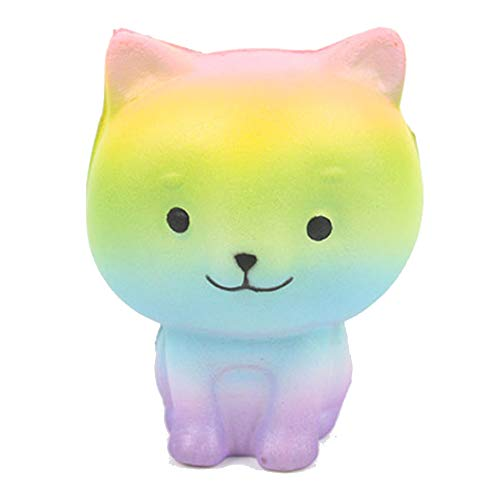 Rainbow Kitty Cat Squishy - Cute Slow Rising Scented Kawaii Sensory Toy for Kids! Girls Birthday Gift Present Cat Unicorn Party Favors for Kids Squishys Kawaii Squishys Cat Stress Reliever -