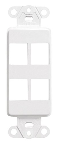 Leviton 41644-W QuickPort Decora Insert, 4-Port, 20-Pack, White Piece