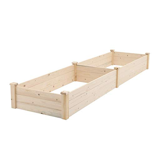 SUNCROWN Outdoor Wooden Garden Bed Planter Box Kit for Vegetables Fruits Herb Grow,Patio or Yard Gardening,8ft - Natural